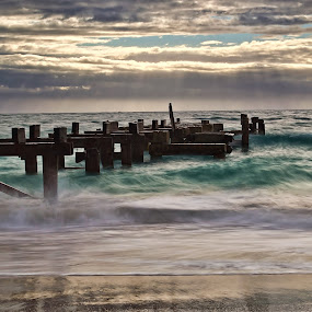 Old Jetty by James Fulton - Landscapes Beaches ( clouds, ocean, beach, jetty, seascape, landscape, jurien bay, western australia )