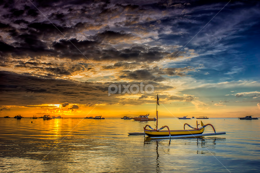 .:: into the golden sky ::. by Setyawan B. Prasodjo - Transportation Boats ( bali island, red sky, harbour, smooth wave, leissure, tourism, beach, travel, boat, slow speed photography, gradual neutral density filter, semawang beach, hideaway, sunrise, catamaran, diving )
