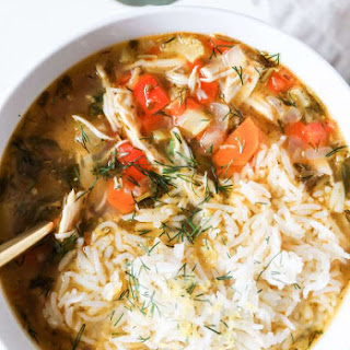 Lemon Chicken and Rice Soup.