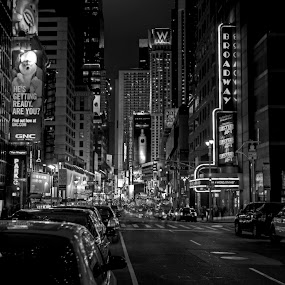 Times Square in B&W by Chip Bolcik - City,  Street & Park  Street Scenes ( black & white buildings, pwcotherworldly, pwcbuilding )