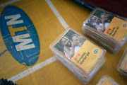 An MTN starter kit pack on display on a table at a retail stand in Abuja, Nigeria. File Photo.