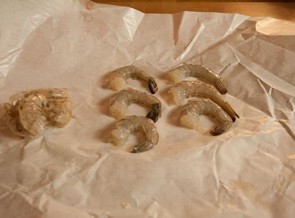 Peel the shells off the shrimp and remove the digestive tract (if necessary), but...