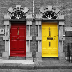 red&yellow by Darko Kovac - Buildings & Architecture Architectural Detail ( enterance, red, ireland, black and white, kilkenny, door, yellow,  )