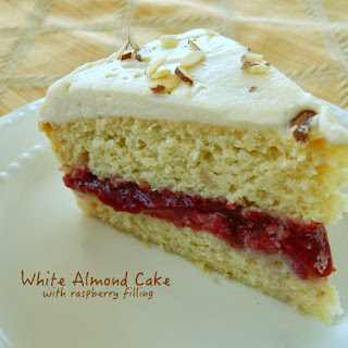 White Almond Cake with Raspberry Filling.
