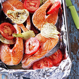 Baked Salmon with Fennel and Tomato.