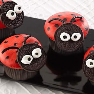 Ladybug Painted Cupcakes.