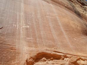 Photo: Old pioneer scrawls in the rock