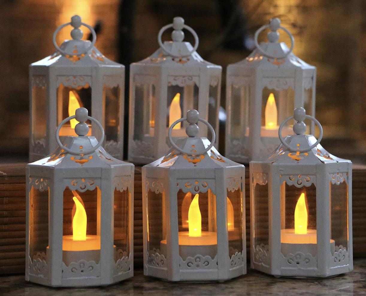 vintage hexagon lanterns for wedding table decor