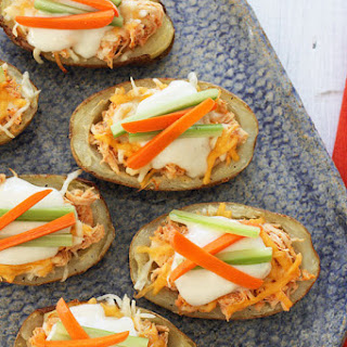 Skinny Buffalo Chicken Potato Skins