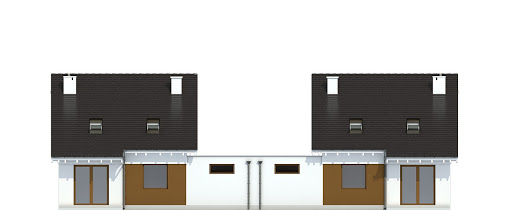Głuszec z garażem 1-st. bliźniak A-BL1 - Elewacja tylna