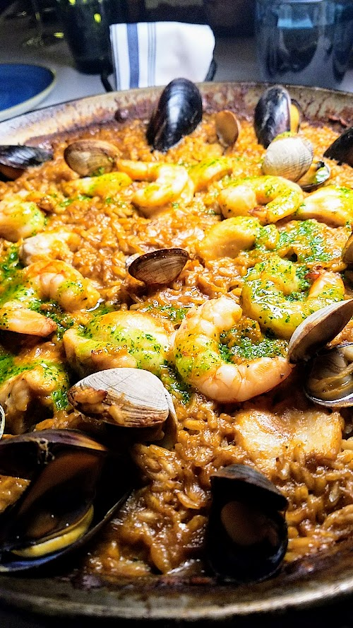 Can Font paella - Paella de Peix with Fish of the Day (Oregon Rockfish during my visit), Clams, Mussels, Shrimp, and Picada