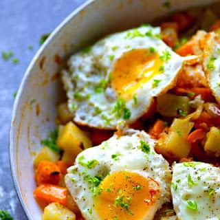 Perfect Fried Eggs with Rainbow Veggie Hash.