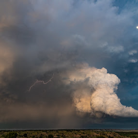 Oklahoma updraft by Matt Hollamon - Landscapes Weather ( lightning, supercell, moon, storm, anvil, updraft, oklahoma,  )