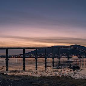 Sunset over bridge by Benny Høynes - Buildings & Architecture Bridges & Suspended Structures ( landscape photography, seascape, sunset, sony alpha, norway, bridge )