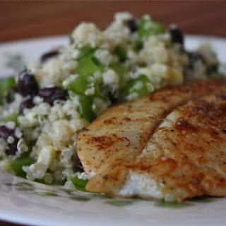 Chili Rubbed Fish with Quinoa, Black Bean and Corn Salad.