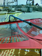 Photo: Patrice Belbeoch has rigged his 9.0 sail for the worlds.