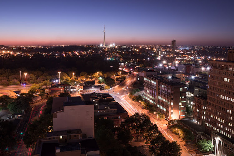 Johannesburg at night. File photo.