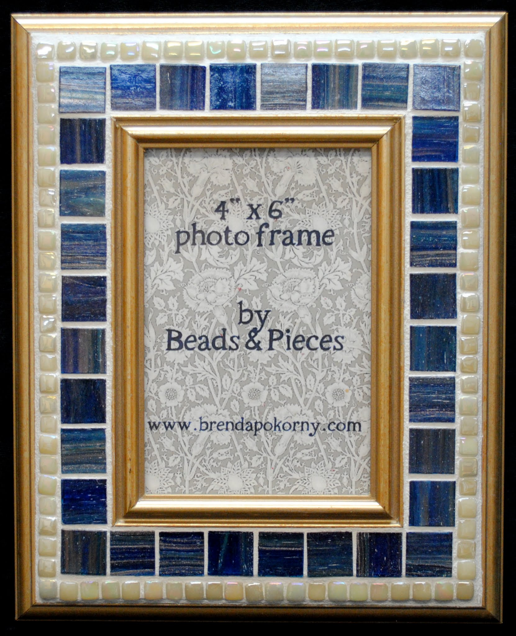 "Blueberry & Pearl on Gold 4"" x 6"" Mosaic Photo Frame MOF1452"