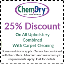 25% off discount on upholstery with carpet cleaning service