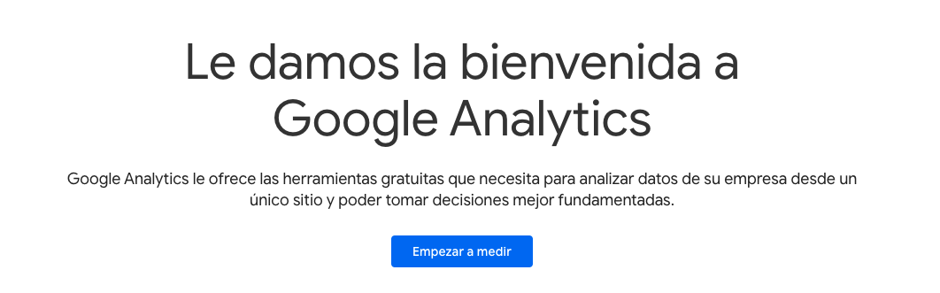 bienvenida a Google Analytics