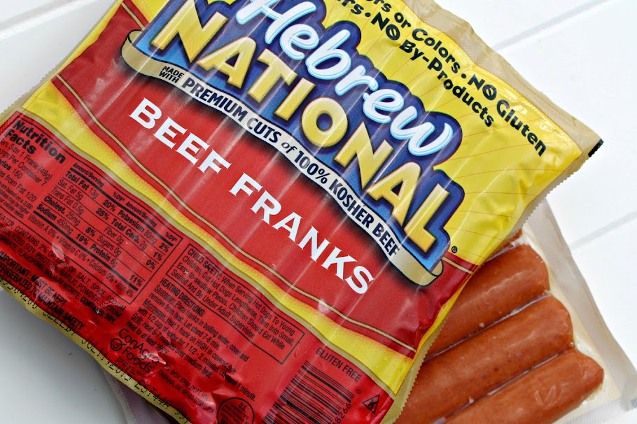 Hebrew National Beef Franks at Kroger - great base for my Hot Brown-inspired hot dog recipe