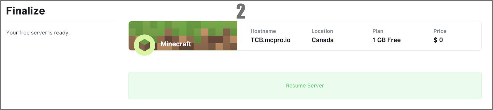Tasto Resume Server, da raggiungere scorrendo verso il basso dalla pagina di resume del server.