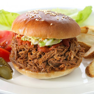 Slow Cooker Pulled Pork With Root Beer Barbecue Sauce.