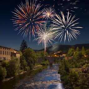 by Joyce Chang - City,  Street & Park  Night ( village, fireworks, festival, france, celebration )