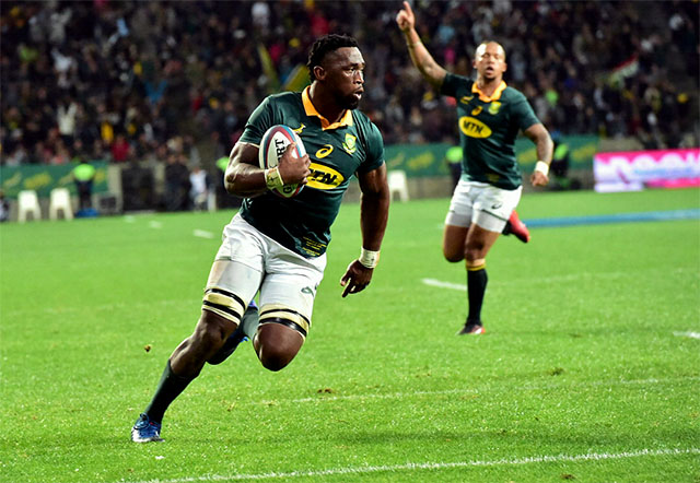 Siya Kolisi in action for the Springboks against Argentina at the Nelson Mandela Bay Stadium last year