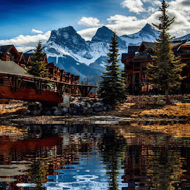 Canmore,Alberta Canada by LC Collins - Landscapes Travel ( sky, mountains, visit.place, reflections, buildings, river, clouds, water, trees, landscape )