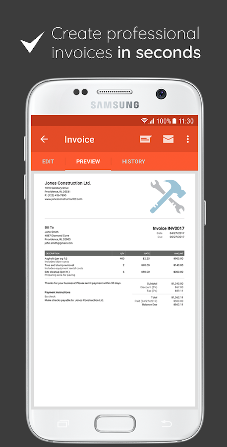 Zip Cash Invoice Excel Invoice  Estimate On The Go  Android Apps On Google Play Format Of Commercial Invoice Excel with Wireless Receipt Scanner Invoice  Estimate On The Go Screenshot Gmail Send Receipt Word