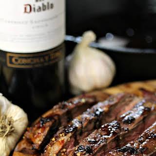 Vampire Steaks with Garlic Red Wine Reduction.