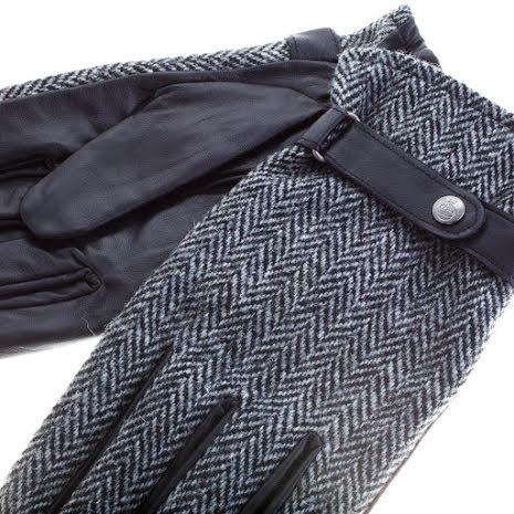 Läderhandskar, svarta / grå