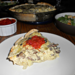 Mushroom and Artichoke Quiche with Red Pepper Puree (adapted from Vegetarian Times -November 2012)