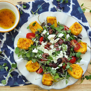 Greek Microgreen Salad with Polenta Croutons.