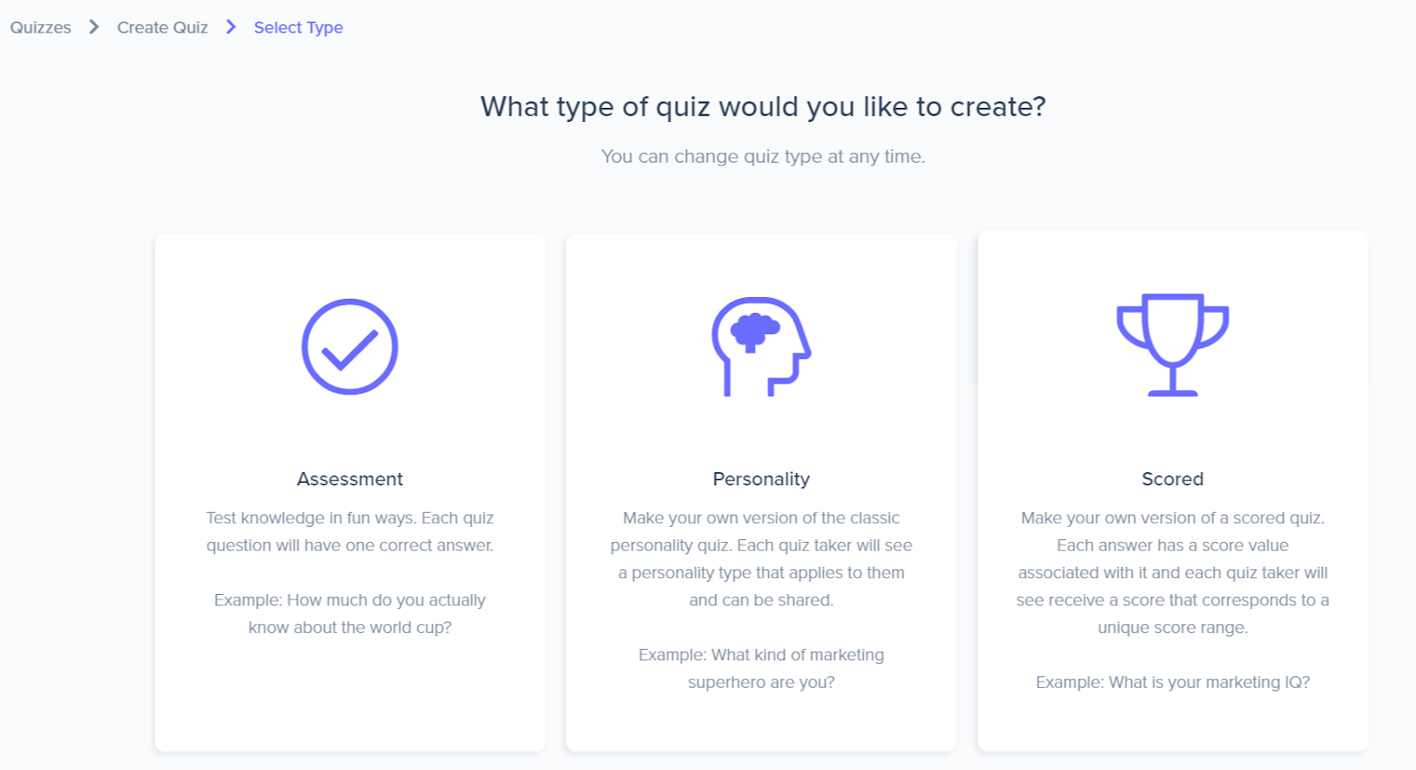 types of quizzes you can make with Interact - assessment, personality, and scored