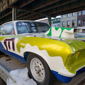 Blob car on flatbed tow. by Jacob Uriel - Transportation Automobiles ( car, new york city, towtruck, brooklyn, flatbed, tow, new york )