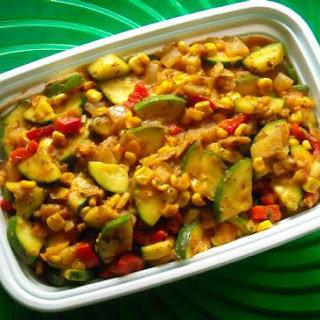Zucchini-Corn Sauté, Spinach and Beans