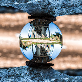 Double Vision by Kyle Re - Artistic Objects Glass ( glass, reflection, rocks, nature, double, lensball, clear, roads, kylerecreative, bridge, rocky )