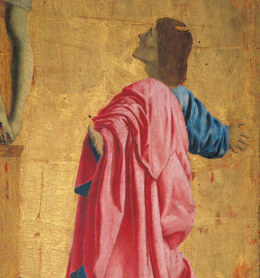 Piero della Francesca, Polittico di Misericordia, Crocifissione, (particolare Giovanni), Museo Civico, Sansepolcro
