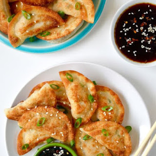 Easy Chicken Potstickers with Soy Dipping Sauce.