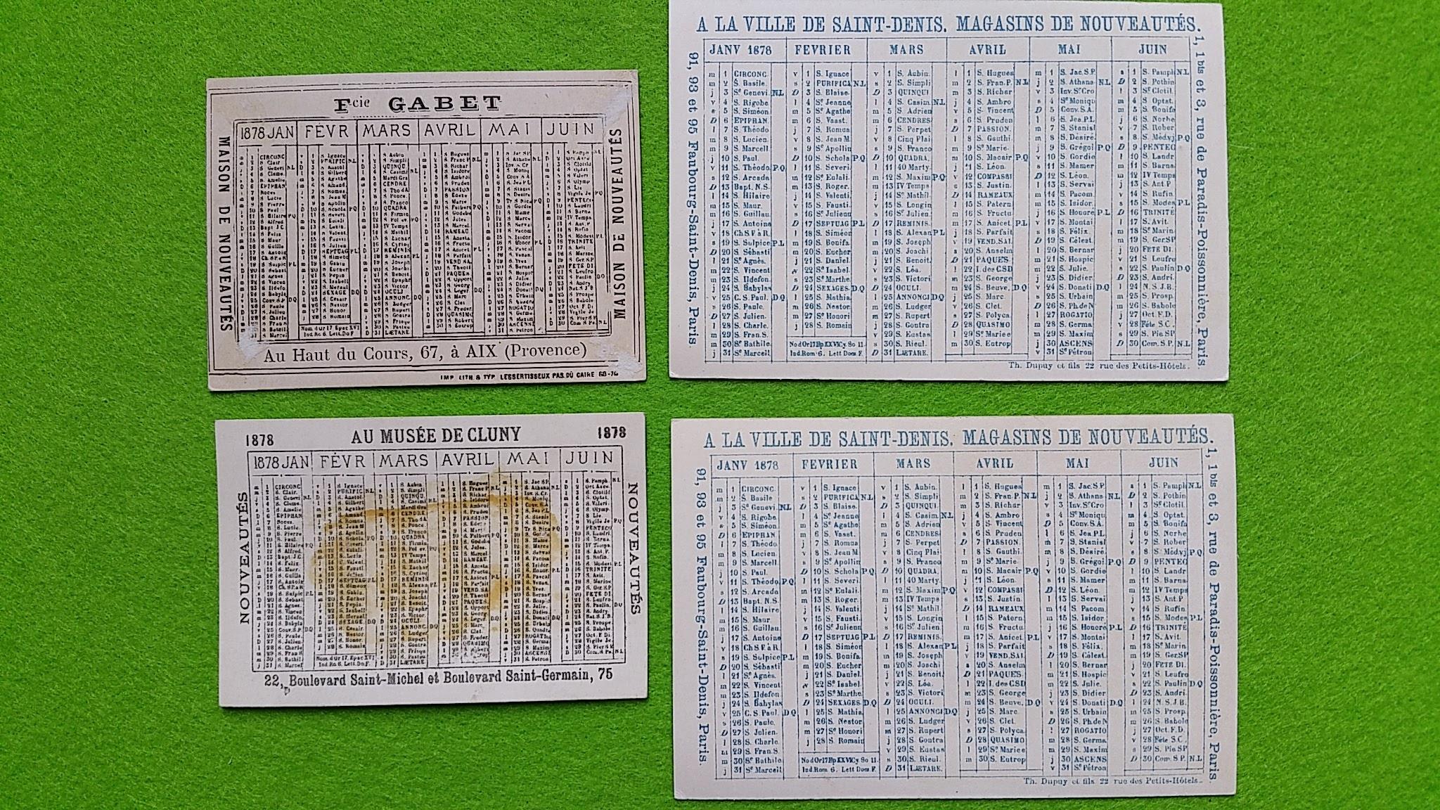 Taschenkalender, Frankreich, 1878