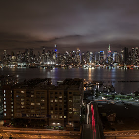 Hudson County view by Mario Spiz - City,  Street & Park  Night ( night photography, weehawken view, cityscape, nyc, nikon, nightscape, hudson river,  )