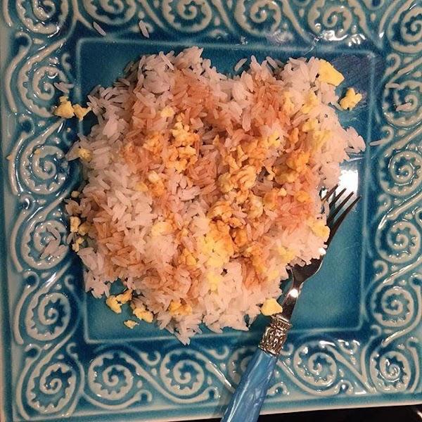From Instagram: Base layer: Jasmine rice, scrambled egg, & a swath of Yoshida's Sauce. https://www.instagram.com/p/BC6fRMfKcWv/