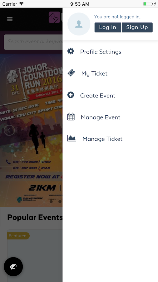 Ticket2u- screenshot
