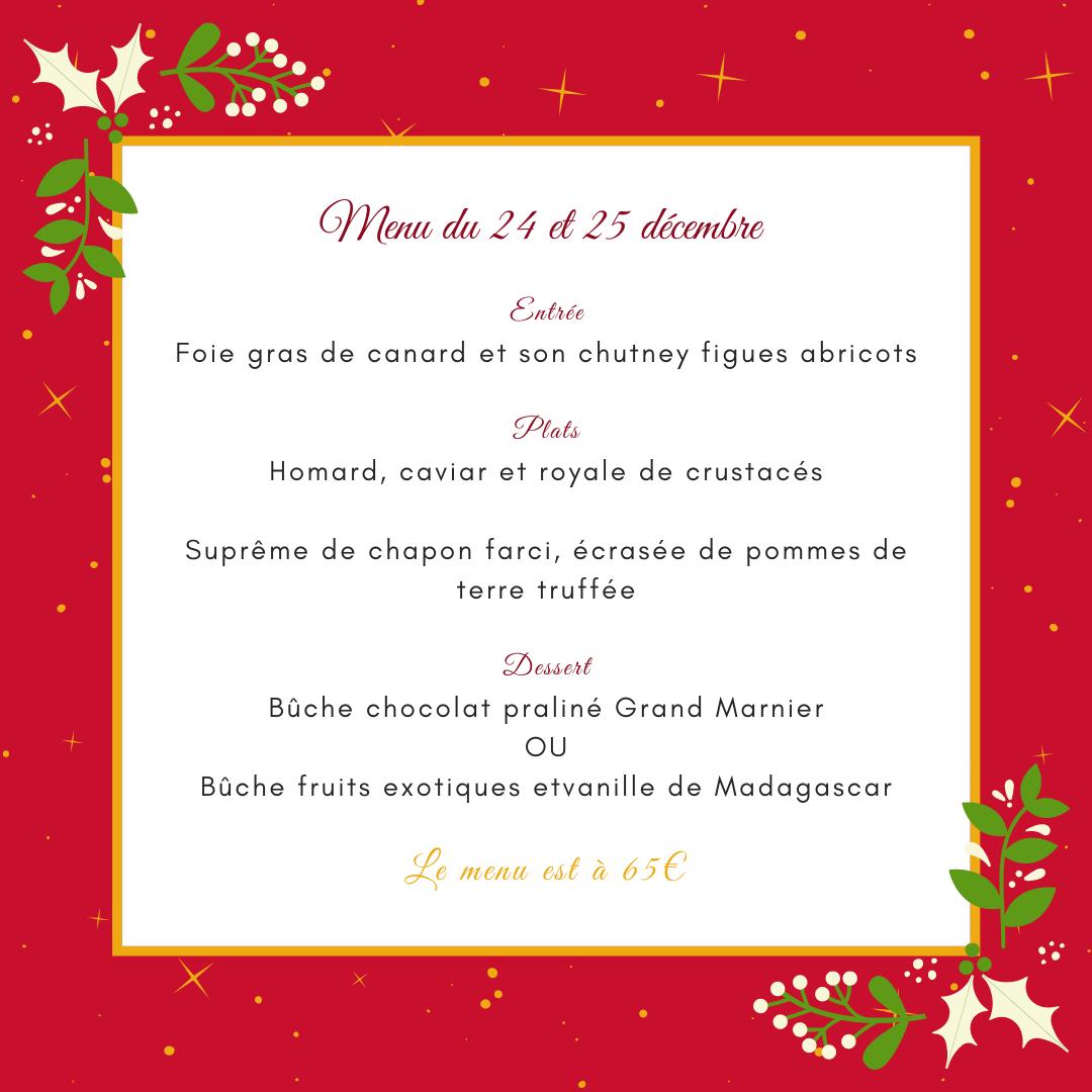 menu du 24 et 25 décembre