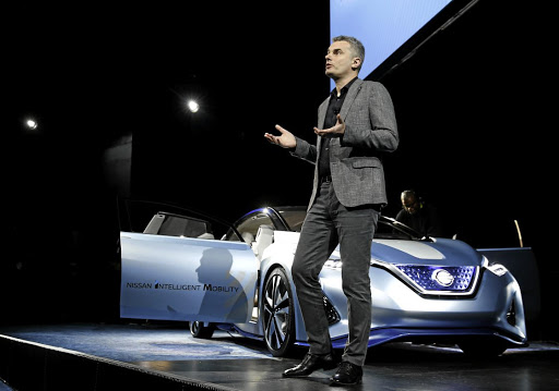 Ogi Redzic, senior vice president of connected vehicles and mobility services at Renault-Nissan Alliance, has a conversation with a Nissan IDS prototype vehicle during a keynote address at the 2017 CES in Las Vegas, Nevada, on January 5 2017. Picture: Reuters