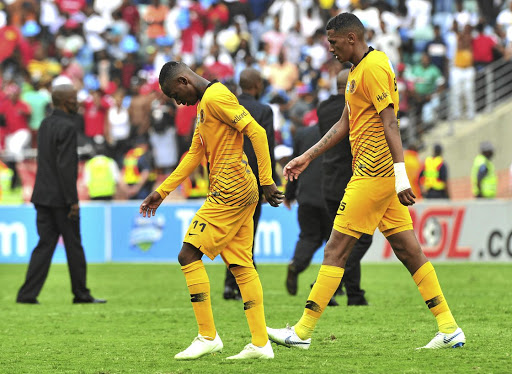 Khama Billiat and Mario Booysen of Kaizer Chiefs walk away in shame after losing the derby to Orlando Pirates.