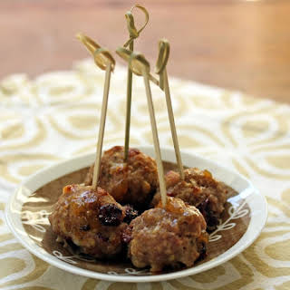 Apple, Cheddar and cranberry turkey meatball appetizer bites.