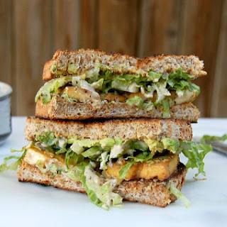 Whole Food Plant Based Baked Tofu Caesar Sandwich
